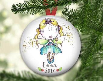 fairy ornament for tree - personalized Christmas ornaments for kids - baby's first christmas ornament - fairy decorations - ORN-PERS-12