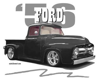 T-SHIRT 1956 Ford F100 Black