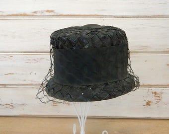 Annette Millinery Black Net Straw Bucket Hat - Cloche with Wide Black Ribbon