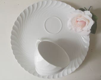 Vintage Ironstone Cups and Plates Snack Sets Rustic Wedding Decor