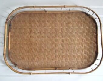Bamboo Tray Vintage Boho Rattan Tray Bohemian Wall Decor Mid Century Modern Decor
