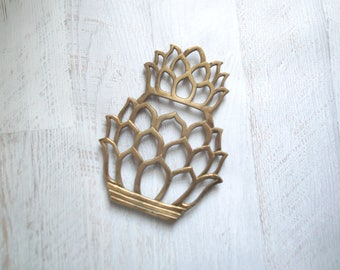 Brass Pineapple Trivet, Boho Brass, Tiki Bar Decor, Vintage Retro Pineapple Decor, Mid Century Modern Decor, Bar Cart Decor