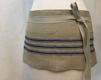 Apron Woman Half Blue Stripes Linen Vintage Linen Mangle Cloth