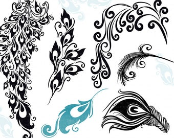 Peacock Tail Feather Clip Art, Decorative Design for Vinyl, Digital Album Graphic, DIY Chic Wedding Invitations, Peacock ClipArt
