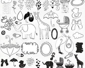 Baby Line Art, Baby Doodles, Outline Clip Art, Digital Stamp, PNG Baby  Shower ClipArt, Stork, Elephant, Umbrella