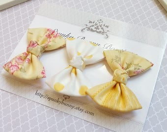 3 Small Yellow Floral Hair Bow Set, Kid Girl Hair Barrettes, Little Girl Hair Bows, NO SLIP Hair Clips, Vintage Style Cottage Chic Hair Bows