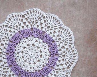 Lavender Lace Crochet Doily, Pastel Purple Decor, French Farmhouse Decor, Table Accessory, Scalloped Design, Light Purple and White