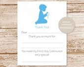 PRINTABLE communion thank you cards for boys . first holy communon fill in the blank . Instant Download YOU PRINT