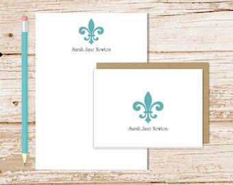 personalized fleur de lis stationery set . notepad + note card set . womens, mens notecards . formal note pad stationary set . gift set