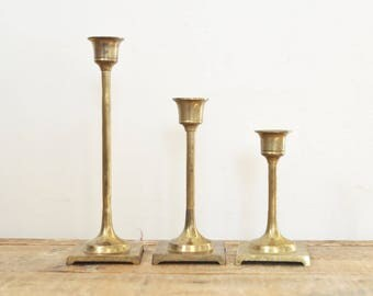 Vintage Brass Candlestick Lot Set of Three Candle Holders Tarnished Brass Home Deco Display 3 Graduated Candleholders