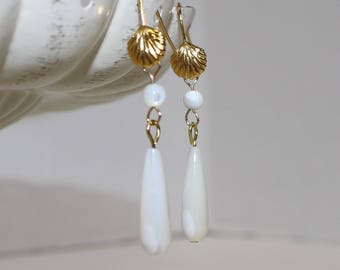 "Elegant Mother-of-Pearl ""Drop"" Earrings, Gold-Filled Earwires, Civil War Appropriate - Affordable Elegance"