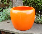 Delicious Fully Signed J 11 Orange Glazed, California Modern Architectural Pottery Planter by Gainey Ceramics ~ Laverne, Calif. ~ Undrilled