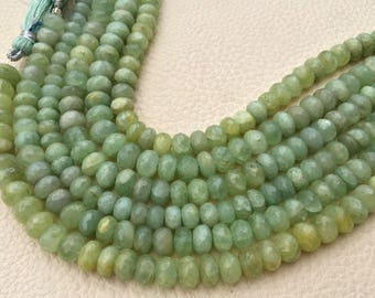 7.5 Inch Strand, Superb-Natural OPAQUE GREEN AQUAMARINE Faceted Rondells, 7-7.5mm Long,Great Quality at Wholesale Price .
