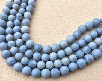 8 Inch Strand, Superb-Natural PERUVIAN BLUE OPAL Faceted Balls, 8-9mm Long,Great Quality at Wholesale Price .