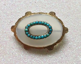 Victorian Gold, Chalcedony and Turquoise Brooch