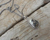 ON SALE White Buffalo turquoise necklace handmade in sterling silver 925