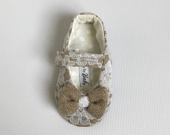 White Lace and Burlap Shoes // toddler shoes with bow Velcro strap fabric baby shoes toddler infant- Olga