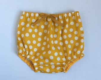 Mustard Polka Dot  Bloomers // Newborn infant toddler nappy cover yellow shorts diaper cover