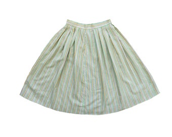 Mean Green Striped Midi Skirt