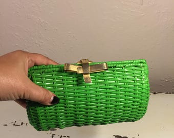 Could It All Be About Me - Vintage 1960s Bright Green Vinyl Straw Clutch Handbag Purse