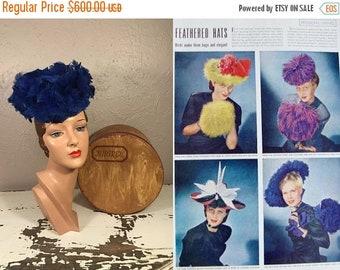 Anniversary Sale 35% Off Birds of Prey - Vintage 1940s WW2 Museum Quality Milgrim Royal Blue Feathered Tilt Topper Hat w/Box