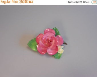 Anniversary Sale 35% Off A Rose of England - Vintage 1950s Staffordshire China Petite Rose Flower Brooch Pin - Made in England