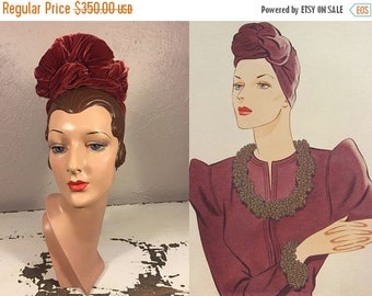 Anniversary Sale 35% Off Who Says Metals Can't Be Rosy - Vintage 1930s Rosy Rust Silk Velvet Twisted Turban Hat