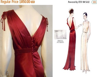 Anniversary Sale 35% Off Announcing the Lady Amelia Montrose  - Vintage 1930s Claret Red Silk Rayon Dress w/Plunge Back Button Detail - 4/6