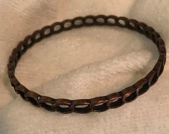 Copper Open Chain Bangle Bracelet