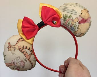 Winnie the Pooh inspired Mickey/Minnie Disney ears featuring Winnie the Pooh and friends