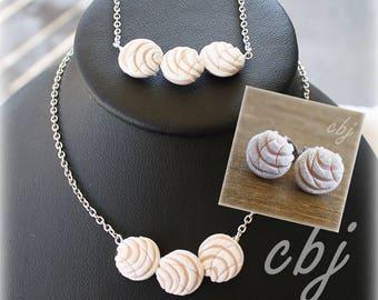 Pan Dulce Necklace, Pan Dulce Jewelry Set, Concha Necklace, Concha Bracelet, Concha Post Earrings - All White Set
