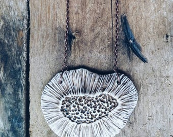 FORAGE - A one of a kind sculptural porcelain necklace.  Inspired by the textures of mushrooms.  Unique woodland wearable art.