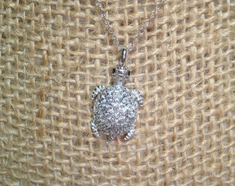 925 Silver Tiny Sea Turtle Necklace with Sparkling CZs on a 925 Chain.