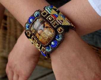 Urban Warrior - Oversized Beaded Cuff, Large Bead Embroidered Cuff, Boho Chic, Jasper, Semi-precious Stone and Leather