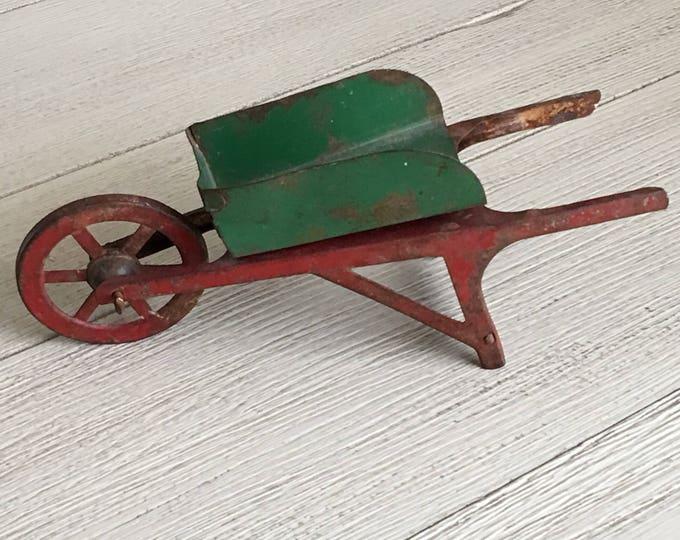 Tin Toy Wheelbarrow Vintage Green & Red Metal Miniature Garden Tool
