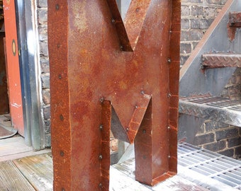 Big letter M  Industrial metal Sign salvage box dimensional large 24