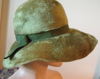 Olive Green Fur Felt Slouchy Brim Cloche Item #832  Hats