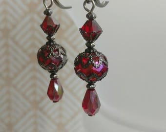 Edwardian Earrings - Edwardian Jewelry - Titanic Jewelry - Victorian Jewelry - Victorian Earrings -  Red Drop Earrings - Womens Jewelry
