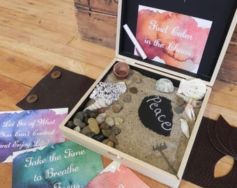Zen box, Relaxation Sand box, desk top sand box, zen desktop box, zen garden, Inspirational Cards, Co-worker gift, christmas present