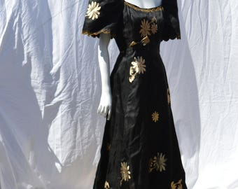Vintage 50's silk Filipiniana Terno gown haute couture dress gown evening gown embroidered from la femme chic in Calivo-Capiz size M