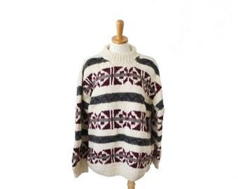 50% half off sale // Vintage 80s IXCHEL Sweater - Snowflake Nordic Skiing - Men XL - Thick Wool