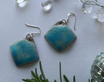 Turquoise & silver ceramic earrings