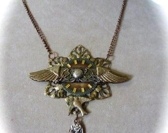 Clearance Sale Wings Steampunk Pendant Necklace, OOAK