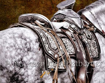 Special order for Jose, Horse wall art large, silver saddle, Mexican decor, horse decor art, Andalusian horse, southwestern decor, horse