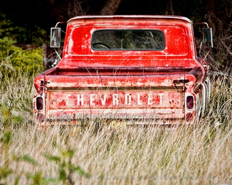 Red, Truck tailgate, truck, photograph, Chevy truck, Chevy tailgate, Chevrolet, 1960s, chevy, old, truck man, wall decor, wall art, photo