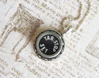 The Tab.Stop Vintage Typewriter Key Necklace Pendant