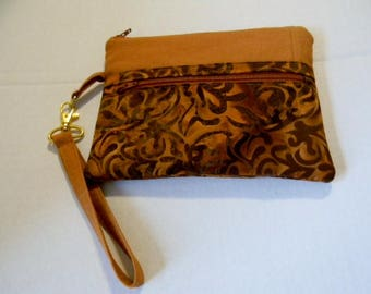 Copper Batik Wristlet with Detachable Handle