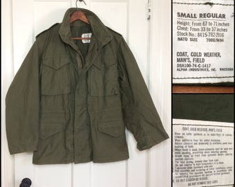 1970's Military US Army Field Jacket Vietnam era size Small cotton Cold Weather brass Scovill zippersAlpha Industries