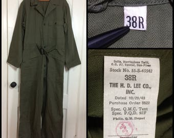 deadstock 1940's 1943 WW2 US Military mechanic's coveralls jumpsuit size 38R cotton HBT olive green HD Lee Co. Union-alls star buttons #101