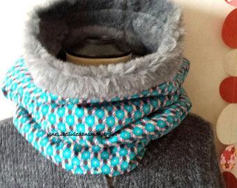 XXL, turquoise, faux fur collar/hood